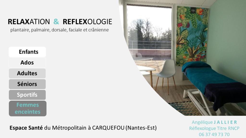 Cabinet de réflexologie à Carquefou - Nantes : enfants, ados, adultes, séniors, sportifs et femmes enceintes y sont accueillis sur rendez-vous 6j/7