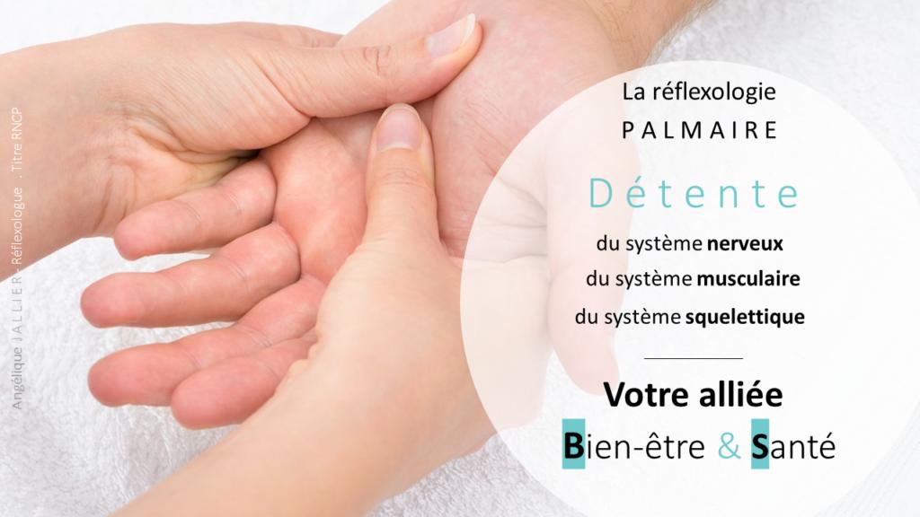 Les bienfaits de la réflexologie palmaire. Elle procure une détente du sytème neuro-musculo-squellettique. La réflexologie palmaire est particulièrement indiquée en cas d'arthrite et d'arthrose.
